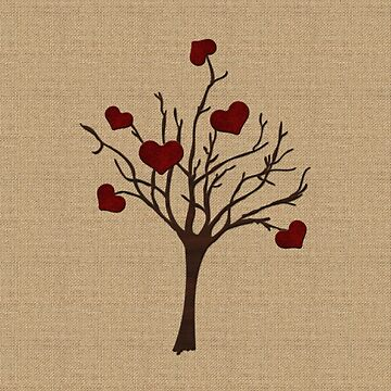 Valentine Tree Hearts Wooden Branches Burlap Love by beverlyclaire