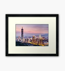 Taipei 101 tower in Taipei, Taiwan at sunset Framed Print