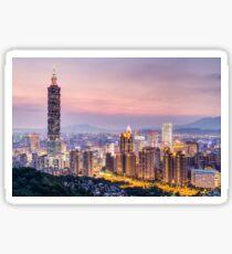 Taipei 101 tower in Taipei, Taiwan at sunset Sticker