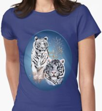 Two White Tigers Oval  T-Shirt