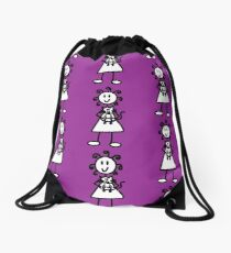 The girl with the curly hair - dark purple Drawstring Bag