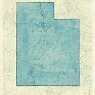 Utah State Map Blue Vintage by HubertRoguski