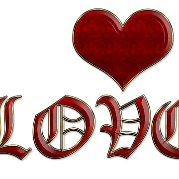 Love Heart Old English Classic Lettering Red Gold by beverlyclaire