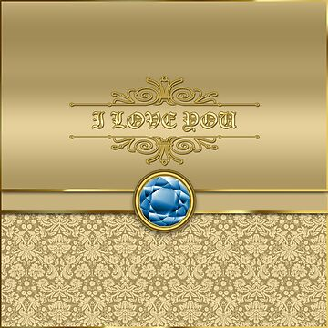 Love Sapphire Blue Gemstone Metallic Gold Damask by beverlyclaire