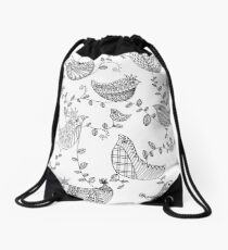 Adult colouring - Birds Drawstring Bag