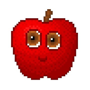 Apple Pixel Smile - White Background by CraftSalad