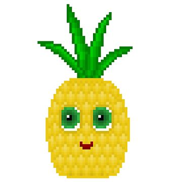 Pineapple Pixel Smile - White Background by CraftSalad