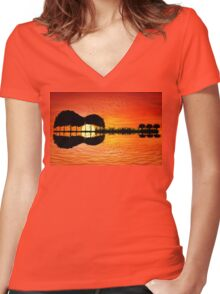 guitar island sunset Women's Fitted V-Neck T-Shirt