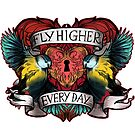 Fly Higher Every Day - Blue Birds Inspirational tattoo design by Helen Aldous