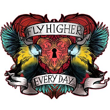 Fly Higher Every Day - Blue Birds Inspirational tattoo design by HelenAldous
