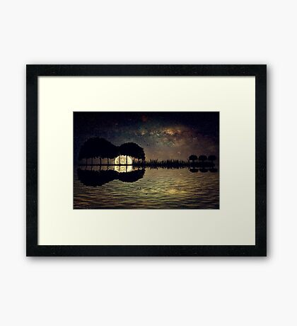 guitar island moonlight Framed Print