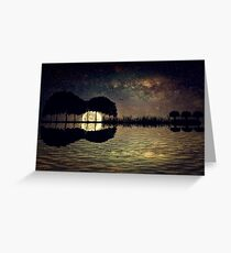 guitar island moonlight Greeting Card