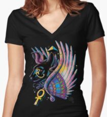 Pharaoh Cat Women's Fitted V-Neck T-Shirt