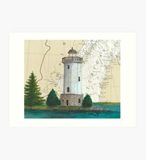 Fon Du Lac Lighthouse WI Nautical Chart Map Cathy Peek Art Print