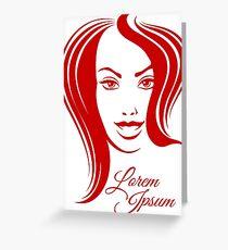 Beautiful Woman Face Emblem Greeting Card