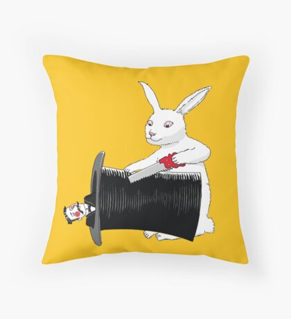 Rabbit vs. Magician Throw Pillow