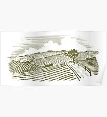Woodcut Countryside Poster