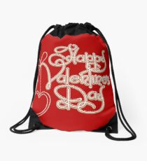 Happy Valentines Day Theme Drawstring Bag