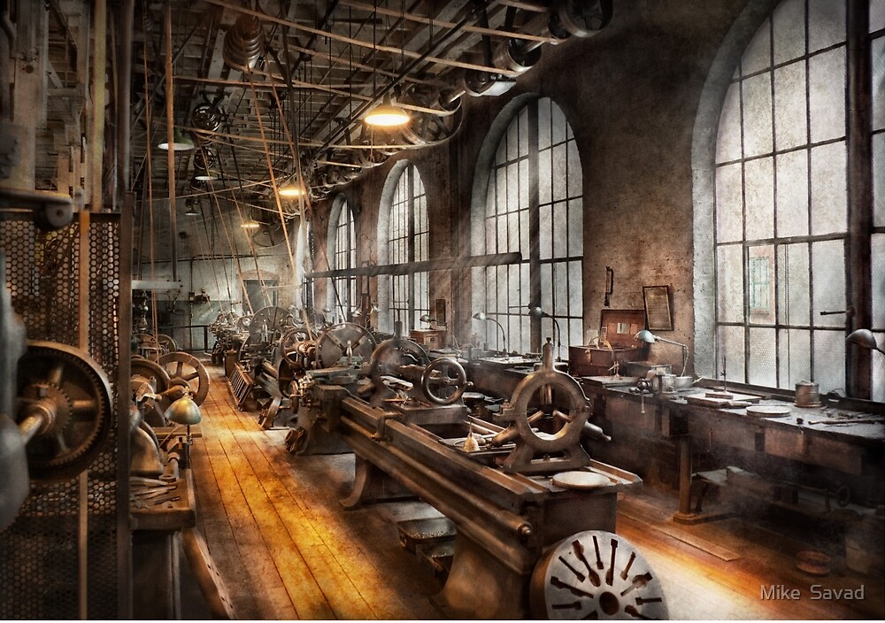 Machinst - A room full of Lathes  by Michael Savad
