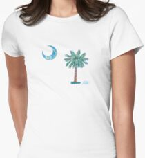 Palmetto Tree and Moon by Jan Marvin Women's Fitted T-Shirt
