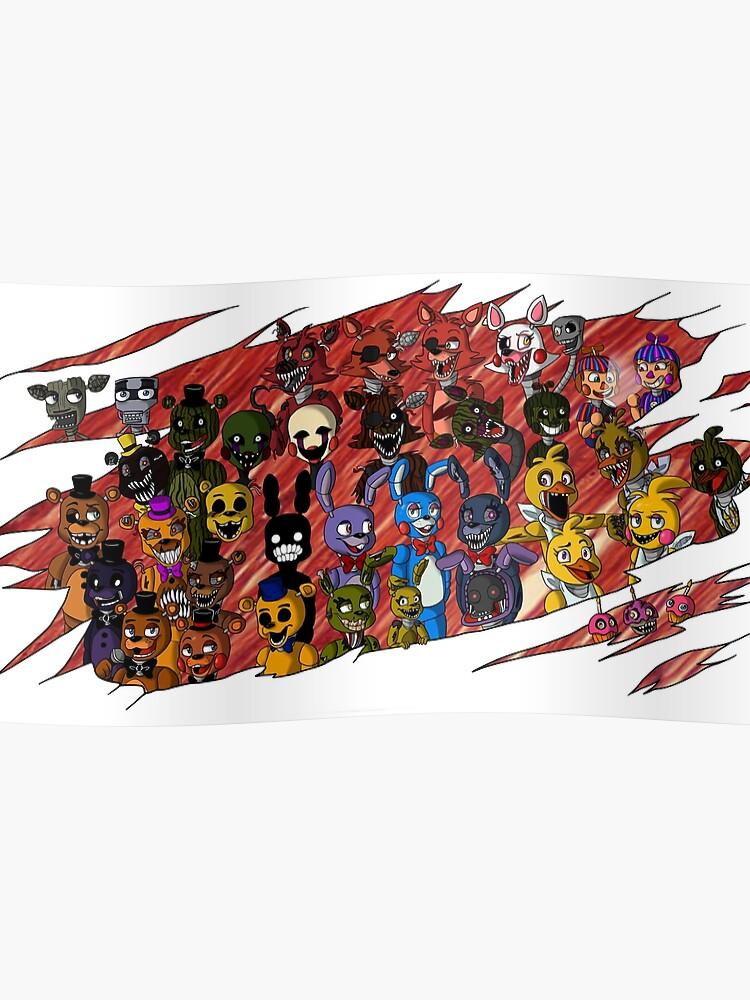 FNaF- All Animatronics Rip Design | Poster