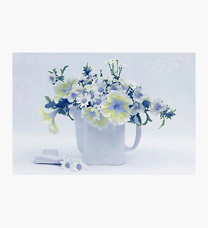 Teapot Of Yellow And Blue Petunias And Daisies  Photographic Print