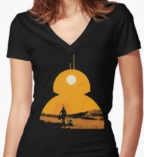 Star Wars The Force Awakens BB8 Poster Women's Fitted V-Neck T-Shirt