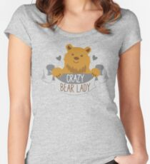 Crazy bear lady banner Women's Fitted Scoop T-Shirt