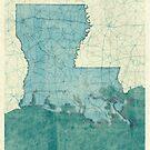 Louisiana State Map Blue Vintage by HubertRoguski
