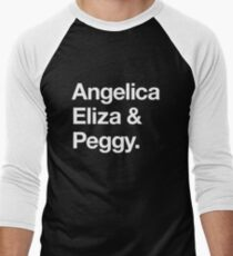 Helvetica Angelica Eliza and Peggy (White on Black) Men's Baseball ¾ T-Shirt