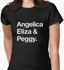 Helvetica Angelica Eliza and Peggy (White on Black) Women's Fitted T-Shirt