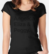 Helvetica Angelica Eliza and Peggy (Black on White) Women's Fitted Scoop T-Shirt