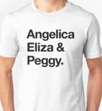 Helvetica Angelica Eliza und Peggy (Schwarz auf Weiß) Slim Fit T-Shirt