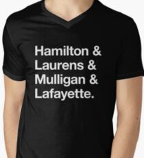 Helvetica Hamilton and Laurens and Mulligan and Lafayette (White on Black) Men's V-Neck T-Shirt