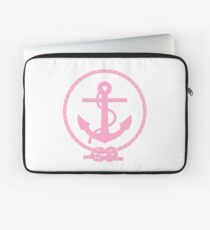 Pink Nautical Anchor and Line Laptop Sleeve