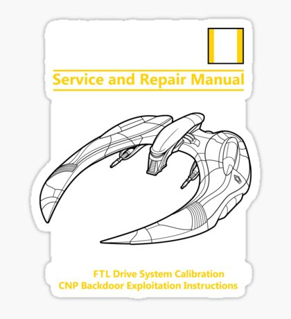 Cylon Raider Service and Repair Manual Sticker