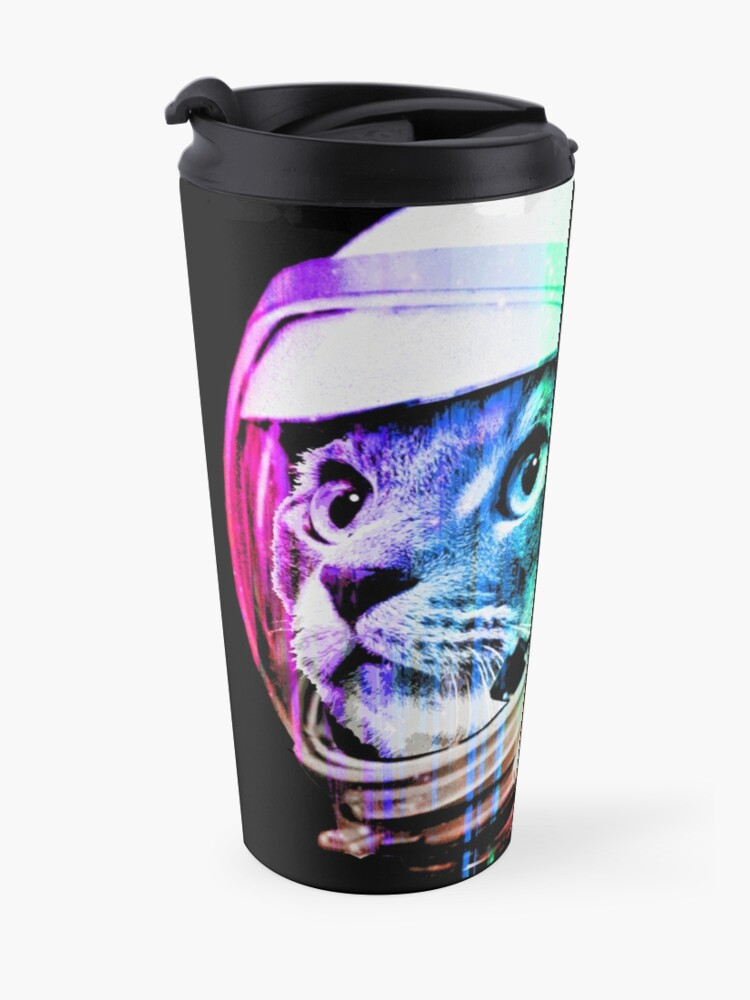 Alternate view of Astronaut Space Cat (digital rainbow version) Travel Mug