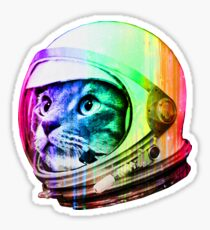 Astronaut Space Cat (digital rainbow version) Sticker