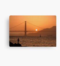 Golden Gate Golden Sunset Canvas Print