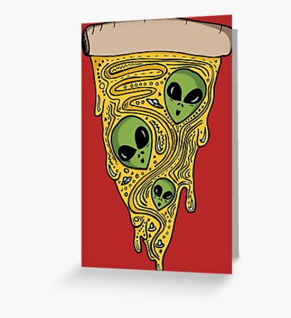 Alien Pizza Greeting Card