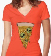 Alien Pizza Women's Fitted V-Neck T-Shirt