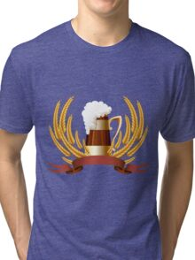 Beer mug cereal ears and banner for your text Tri-blend T-Shirt