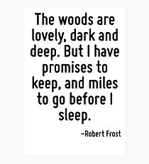 The woods are lovely, dark and deep. But I have promises to keep, and miles to go before I sleep. Photographic Print