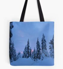 Snowshoeing the mountains  Tote Bag