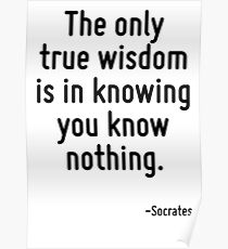 The only true wisdom is in knowing you know nothing. Poster