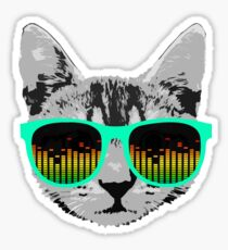 Funny Music Cat with Glasses Sticker