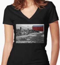Shakertown Red Barn - SC Women's Fitted V-Neck T-Shirt