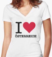I love Austria Women's Fitted V-Neck T-Shirt