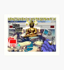 Vaporwave Seapunk Buddha is the reason Art Print