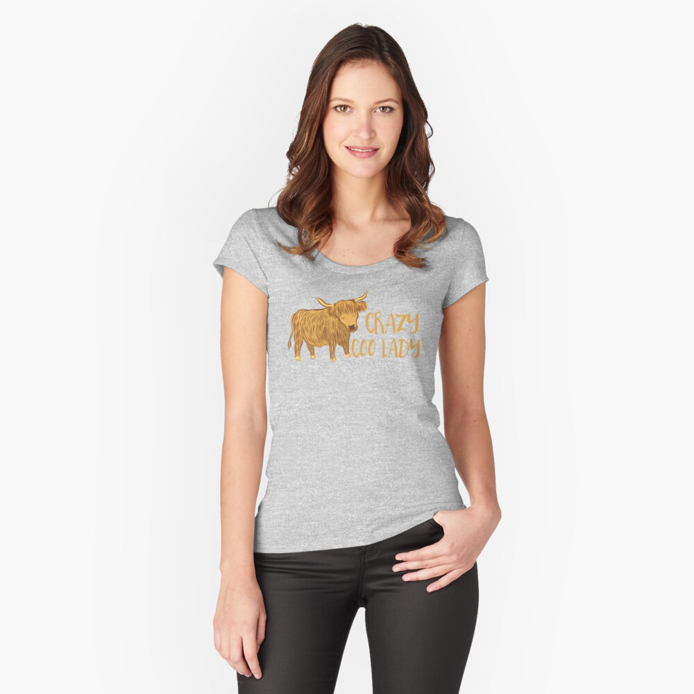 Crazy Coo (HIGHLAND COW) Lady Women's Fitted Scoop T-Shirt Front